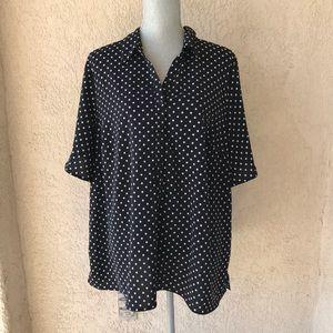 Catherine's Black White Stars Top Shirt Plus 18/20